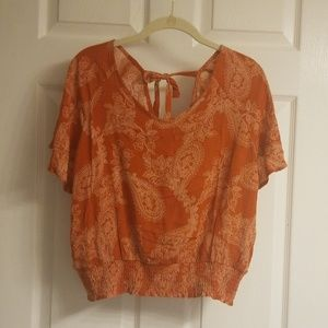 Paper Crane smocked top size large nwt